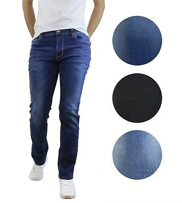 Mens Jeans Washed Tailored Fit Straight Leg W Stretch For Comfort Five Pocket Comfort Fit Mens Jeans
