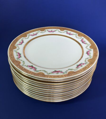 "SHELLEY CHINA 12 Gold Trim Dinner Plates 10"" England"