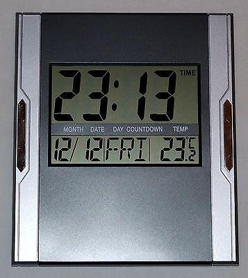 Design Digital Uhr Wanduhr 12/24 Stunden Datum Kalender Alarm Timer Snoze 3886