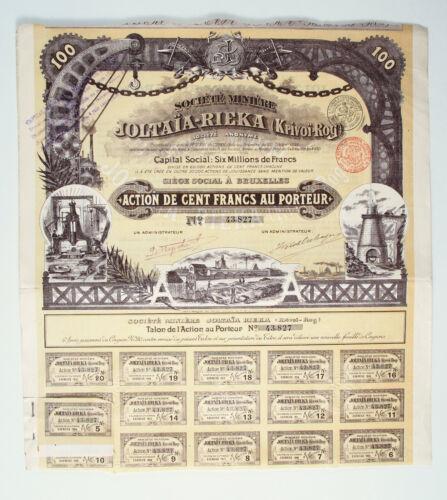 1899 Imperial Russian UKRAINE KRIVOI ROG Yellow River Iron Mines Bond #43827