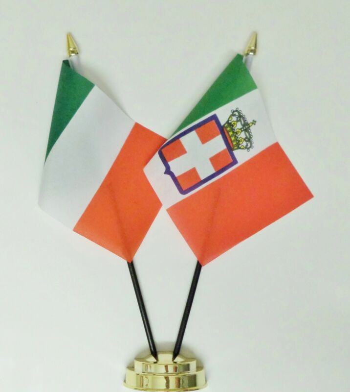 Italy & italy 1861 to 1946 Double Friendship Table Flag Set