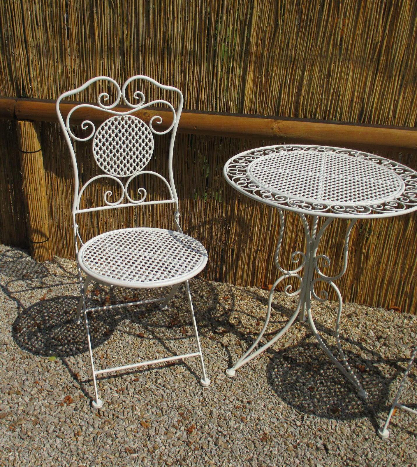 Détails sur Chaise de Jardin Pliante Fer Blanc Style Antique Balcon pour  Ensemble Sièges