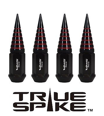 20 TRUE SPIKE 101MM 14X2.0 FORGED STEEL EXTENDED SPIRAL SPIKE LUG NUTS BLACK RED