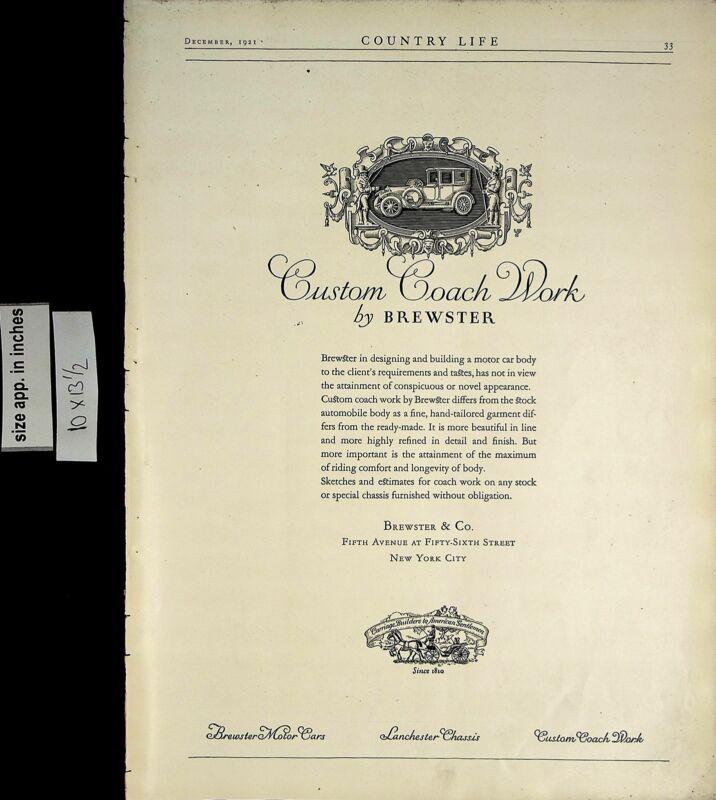 1921 Custom Coach Work Brewster Car Automobile Vintage Print Ad 5637