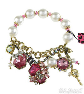 Betsey Johnson Iconic Fabulous Fuchsia Pink Crystal Charm Stretch Bracelet