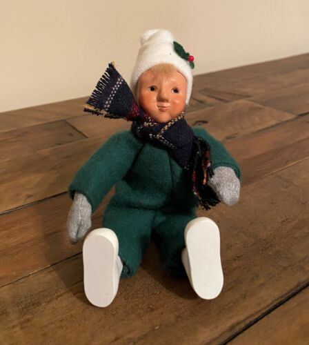"""Byers Choice Blonde Boy Child with Green Snowsuit Bendable 6.5"""""""