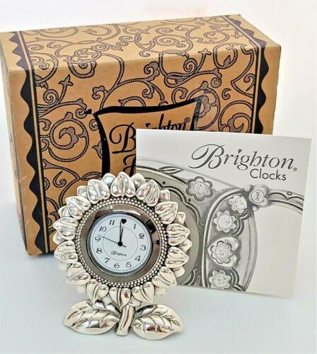 Brighton Sunflower Clock Silver Tone Home Bedroom Decor Analog Desk Clock NEW