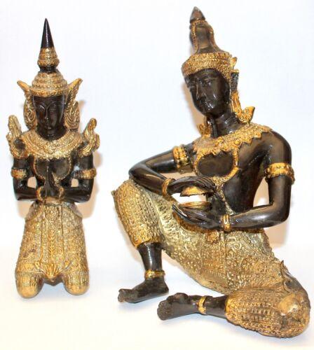 PAIR THAI Gilt Black Metal Bronze Statues Temple Guardian Angel Theppanom Buddha