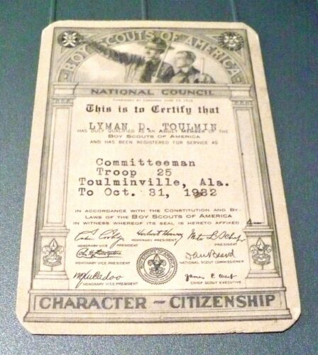 1932 BOY SCOUT Adult Scout Committeeman Membership Card Toulminville, Alabama