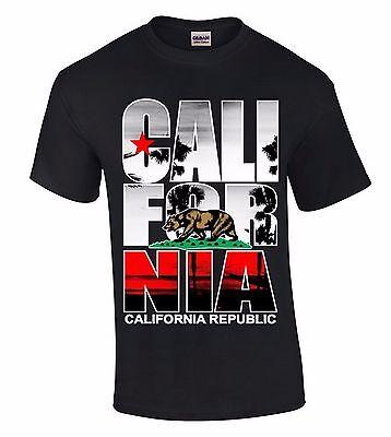 Cali For Nia Palm T-SHIRT California Republic Bear West Coast Star Retro Shirt