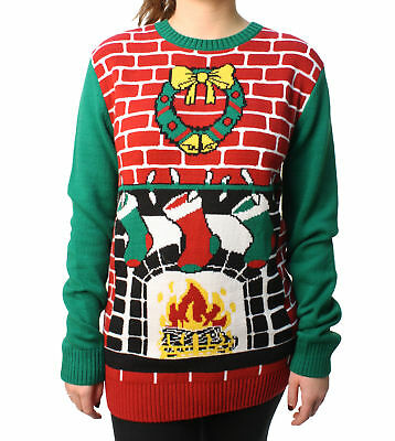 Ugly Christmas Sweater Plus Size Women's Fireplace Pullover Sweater](Fireplace Sweater)