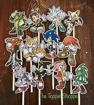 12- SONIC Cupcake Toppers / Cake Toppers / Birthday Party Decorations