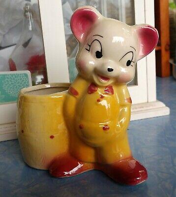Vintage Ceramic Animal Barrel Planter Kitchen Utensil or Pencil Brush Holder