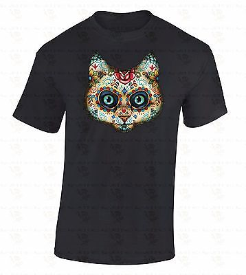 Sugar Skull Cat T-SHIRT Day Of Dead Kitten Face Dia De Los Muertos Animal Shirt - Dia De Los Muertos Cat