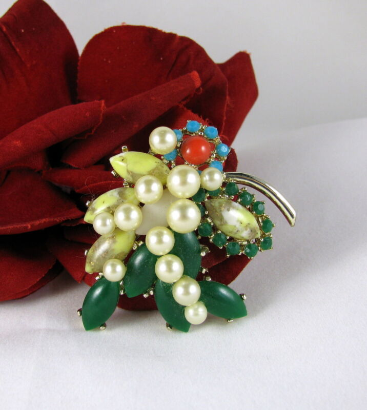Vintage Colorful Faux Stone & Pearl   Pin Brooch CAT RESCUE
