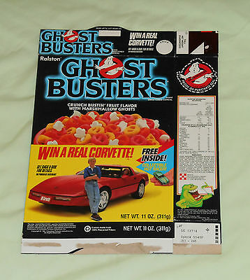 vintage Ralston GHOSTBUSTERS CEREAL BOX (with win a Corvette game offer)