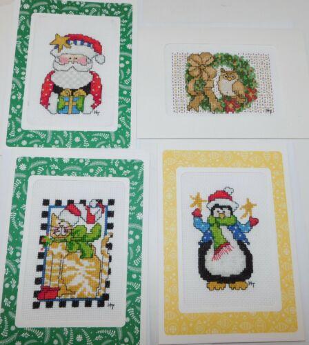 4 CHRISTMAS Finished Cross Stitch Blank Cards Santa Cat Penguin Owl 5x7