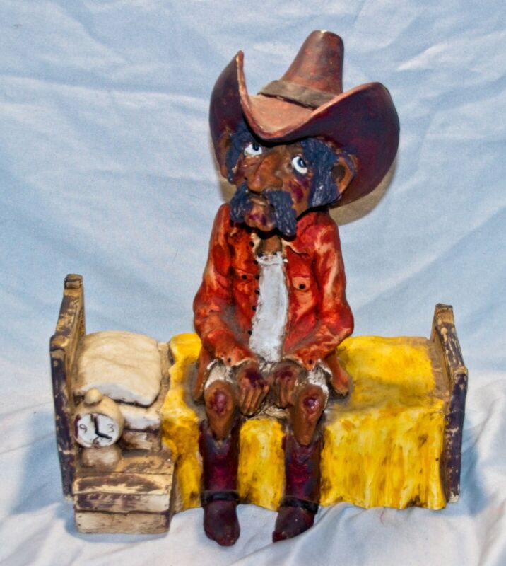 Vintage 1985 Bill Vernon Cowboy in Bed Retired Sculpture Shade Tree Creations