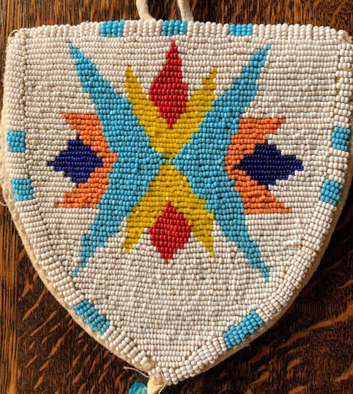 Early Native American Beaded Pouch on Buckskin. Came from Yakama Nation.