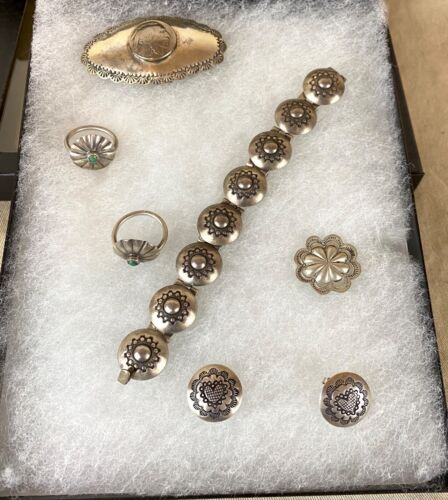 Lot of Navajo Sterling Silver Button Jewelry