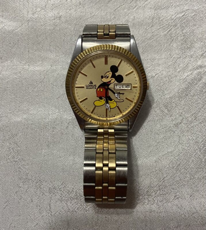 Vintage Lorus Disney Mickey Mouse Wristwatch Watch Untested V533-8A10 A1
