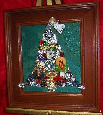 Vintage Jewelry Art Christmas Tree, Estate Frame, signed