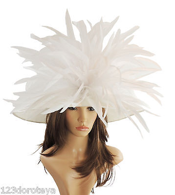 White Large Ascot Hat for Weddings, Ascot, Derby HC1