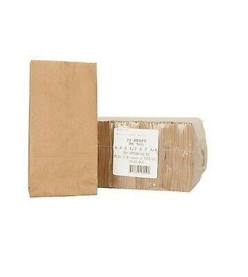 Brown Kraft #2 Paper Bags Candy Peanut Popcorn Snack Small Items Bag - 1000 ct.