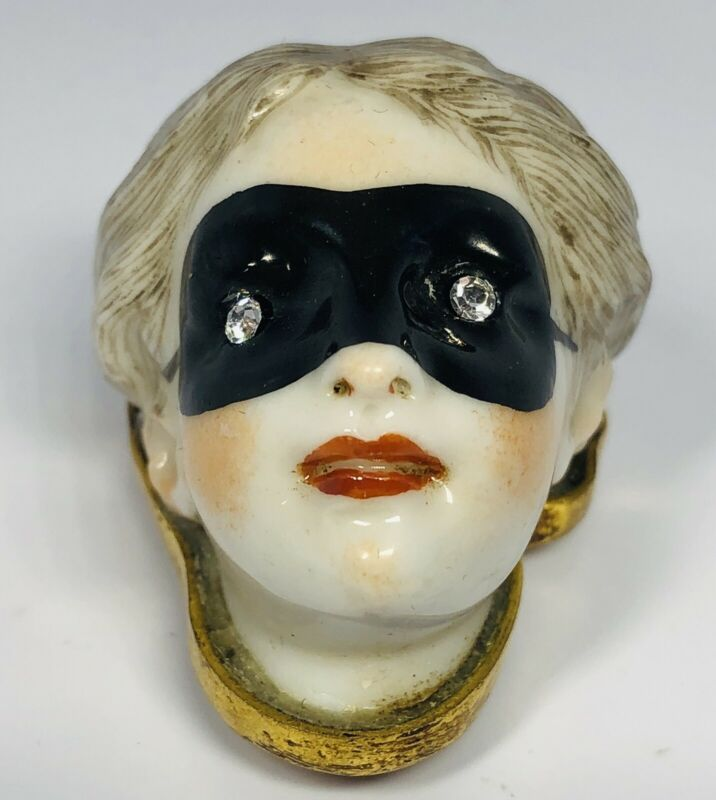 Rare Antique 19th Century French Porcelain Masked Lady 10K Vinaigrette Patch Box