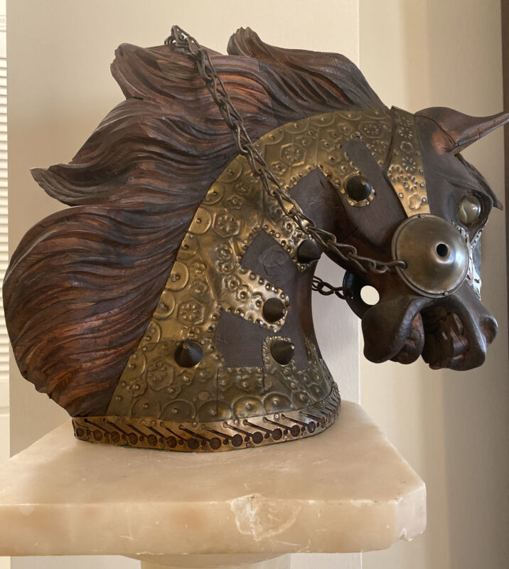 """Vintage Hand Carved Wood and Brass Horse Head Bust Figurine 13 """""""