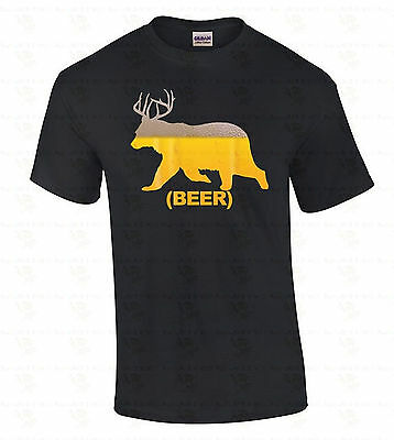 Beer Bear Deer Antlers Suds T-SHIRT Funny Hunter Party Irish Beer Men's (Funny Deer)