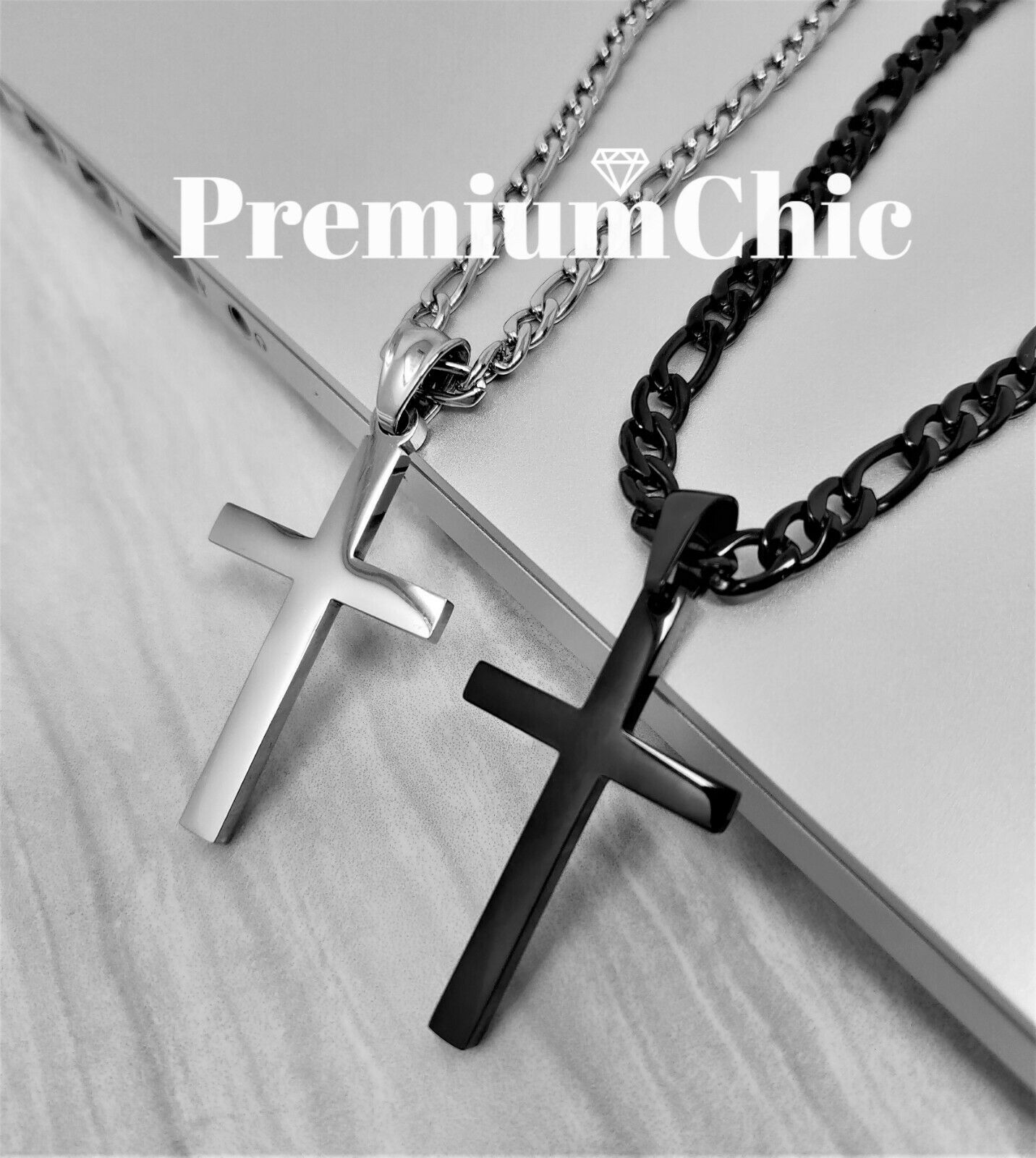 Mens Womens Stainless Steel Figaro Chain Necklace w Cross Pe