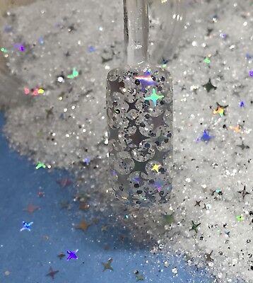 glitter mix acrylic gel nail Art  ICED STARS