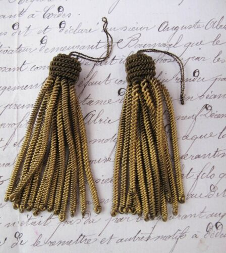 "2 Vintage/Antique French Dark Gold Metallic Bullion Tiny 2 1/4"" Tassel Fringe"