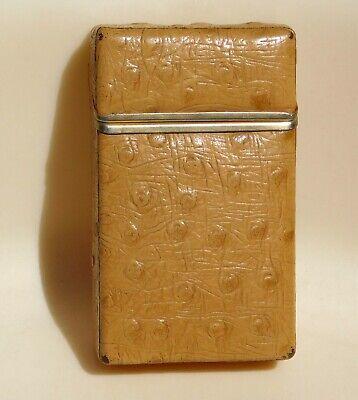 VTG OSTRICH Cigarette Case Holder Flip Top Pack of 20 Box TRAMBLAY FRANCE French