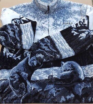 Black Mountain Siberian Husky Dog Outdoor Plush Fleece Jacket Sweater Alaska  XL