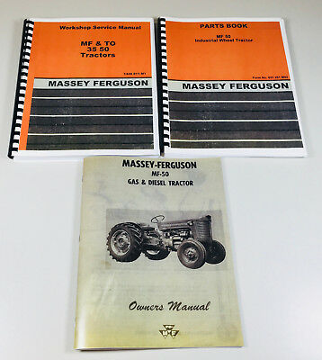 Set Massey Ferguson Mf50 Mf-50 Tractor Service Operator Parts Manual Shop Owners