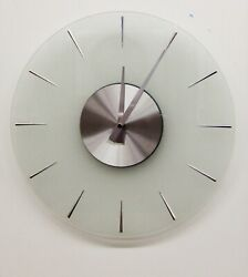 HERMLE  HM 31004  NEW 14 ALL  GLASS ROUND NON CHIMING WALL CLOCK