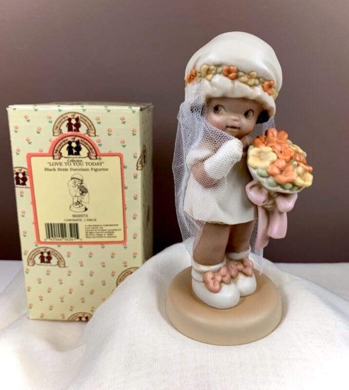"Memories of Yesterday Enesco ""Love You Today"" Black Bride Porcelain Figurine"