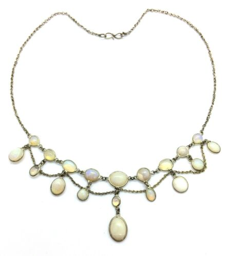 Antique Edwardian Silver White & Jelly Opal Festoon Necklace