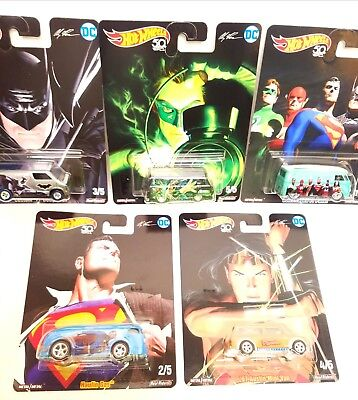 Set Of 5 Hot Wheels Pop Culture DC Comics Alex Ross Batman,Superman NEW 2018