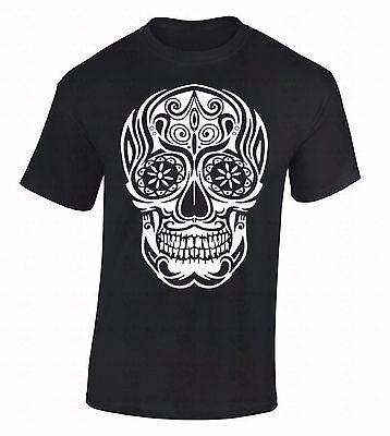 White Sugar Skull T-SHIRT Day Of Dead Dia De Los Muertos Death Gothic Tee Shirt