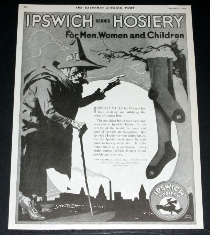 1919 OLD MAGAZINE PRINT AD, IPSWICH SERIES HOSIERY, MARCHING FEET OF FOUR WARS!