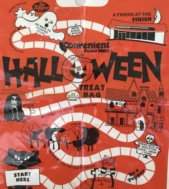 1981 Halloween Trick or Treat Bag Food Mart store Dr Pepper Ad goodie 1980s soda