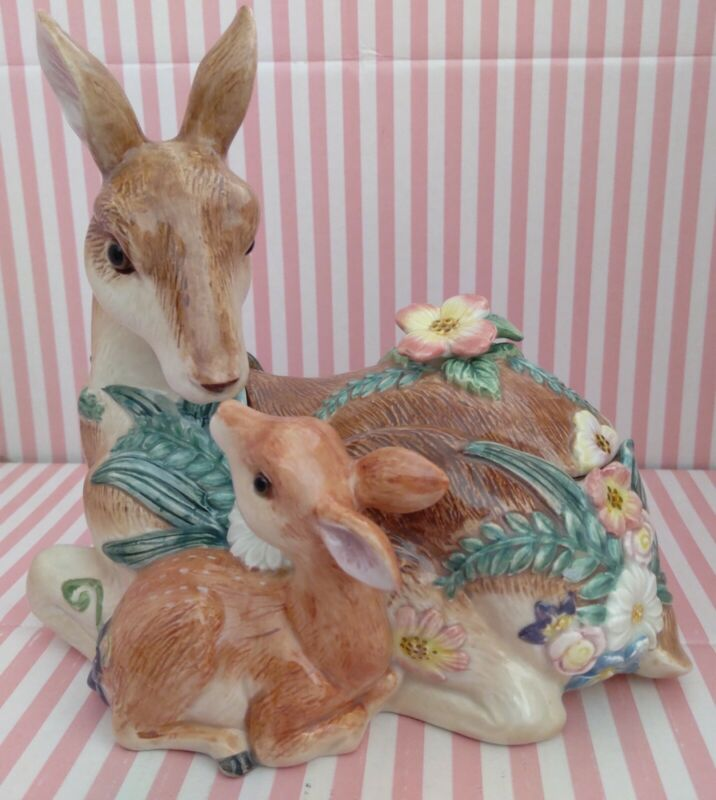 Hand Painted Fitz & Floyd Woodland Spring Deer Fawn Centerpiece Candy Box w/Lid!