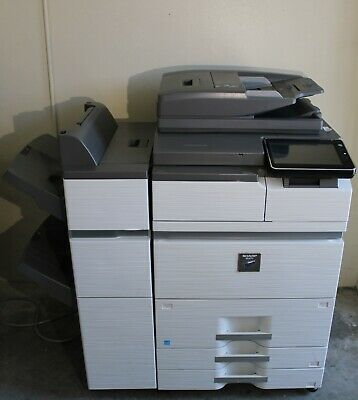 Sharp Mx-m754n Color Multifunction Duplex Copier Network Printer Scan Finisher