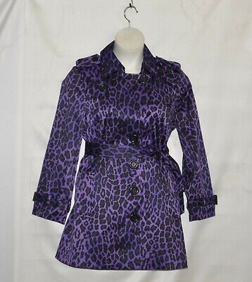 Hot In Hollywood Animal Print Trench Coat With Belt Size M Purple/Black - Purple Trench Coat