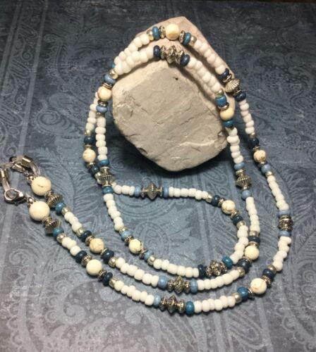 Handmade White Gemstone Howlite Eyeglass/Mask Chain/ID Badge Holder USA