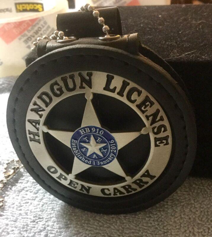 Handgun License  Badge & Leather holder Belt Clip Open Carry Texas Pewter