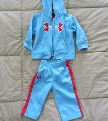 Under Armour Baby Boys Blue Outfit Fleece Lined Size 12 Months Hoodie and Pants